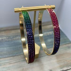 NEW 3 inch Rainbow Crystal Stone Hoop Earrings